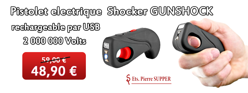 Pistolet electrique Shocker GUNSHOCK rechargeable par USB 2 000 000 Volts