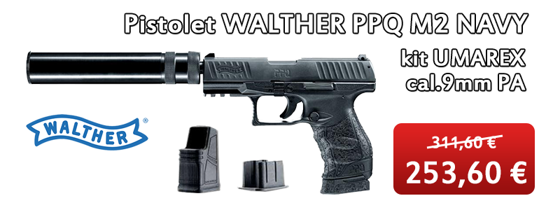 Pistolet WALTHER PPQ M2 NAVY kit UMAREX cal.9mm PA