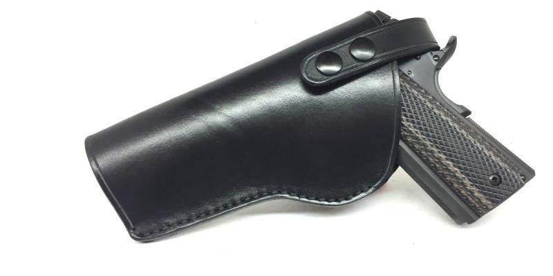 Holster gaucher Cuir Noir Artisanale pour Pistolet Automatique