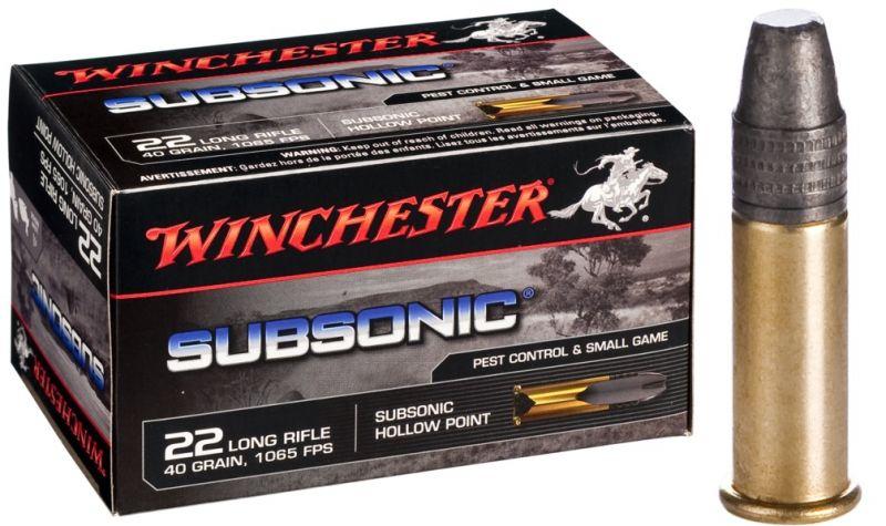 WINCHESTER Subsonic 22 Lr Pointe pleine (Spécial Silencieux) /50