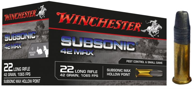 WINCHESTER Subsonic 42 MAX 22 Lr Pointe creuse (Spécial Silencieux) /50