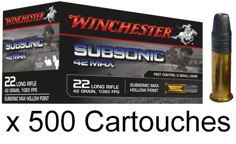 WINCHESTER Subsonic 42 MAX 22 Lr Pointe creuse (Spécial Silencieux) /500