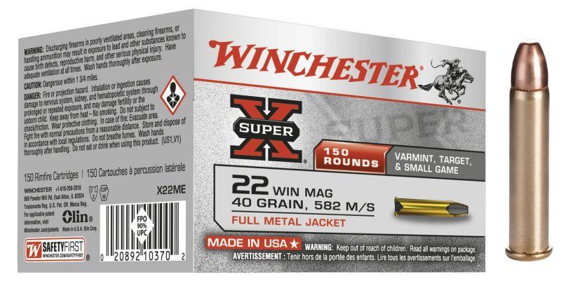 WINCHESTER 22 Magnum Pointe Pleine 40 gr /150
