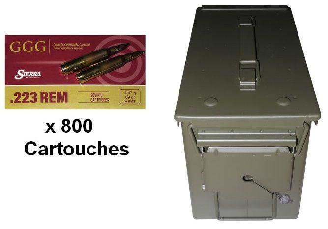 GGG caisse de 800 cartouches cal.223 Rem SIERRA HPBT Matchking 69gr