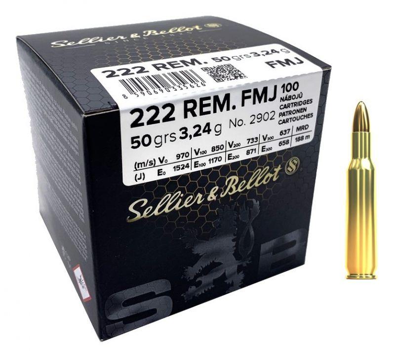 Sellier & Bellot cal.222 Rem FMJ 50 grains - 3.2 grammes /100