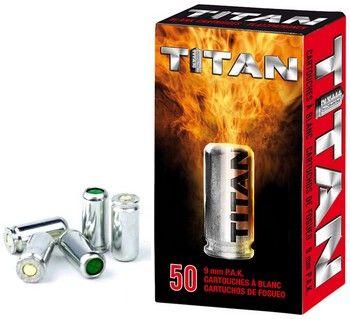 Cartouches 9mm PISTOLET à blanc/50 Perfecta TITAN