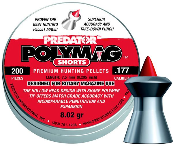 Plombs 4.5 PREDATOR SHORT ''Premium Hunting Pellets'' (0,52 gr ) Spécial chargeur court