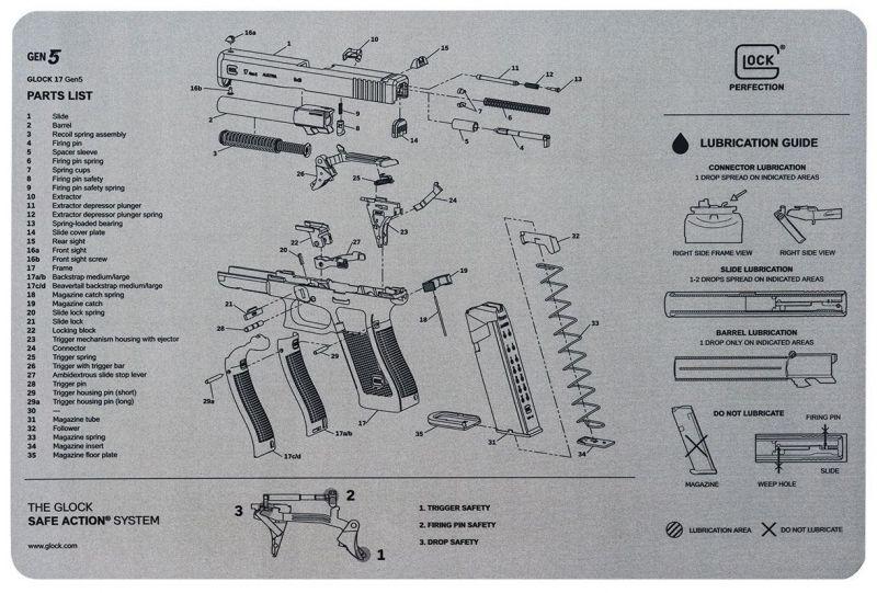 Tapis de démontage gris GLOCK 17 Gén.5