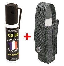 Bombe lacrymogène Gaz CS 80 - 25 ml avec étui