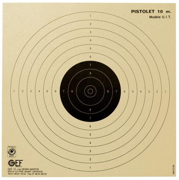 Cibles U.I.T Pistolet 10 mètres GEF 17x17 cm (paquet de 100)