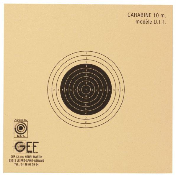 Cibles U.I.T Carabine 10 mètres GEF 10x10 cm (paquet de 100)
