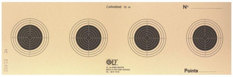 Cibles 4 blasons GEF Carabine 10 mètres GEF 28x9 cm (paquet de 100)