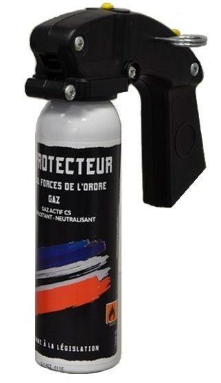 Bombe lacrymogène LE PROTECTEUR Spécial Force de l'Ordre GAZ 70% - 100 ml avec poignée