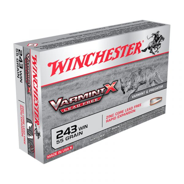 WINCHESTER cal.243 Win VARMINT-X Lead Free 55 grains - 3.6 grammes /20