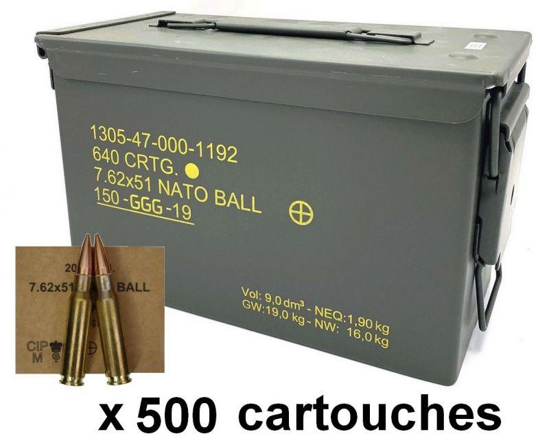 GGG caisse de 500 cartouches FMJ 147 gr cal.308 Win (7,62x51)