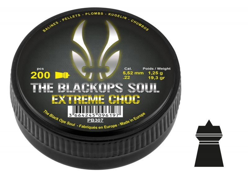 Plombs cal.5,5mm BLACK OPS SOUL Extrem Choc (1.25gr) x200
