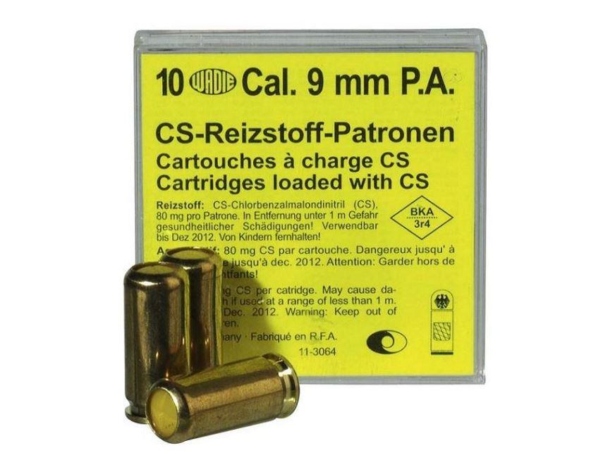 Cartouches 9 mm Pistolet à Gaz CS/10 WADIE
