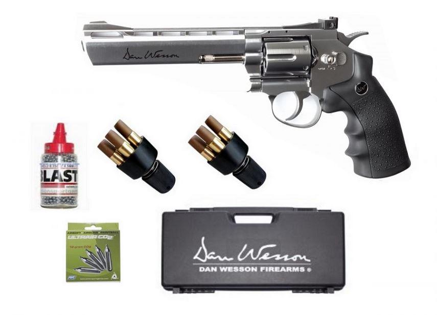 Revolver DAN WESSON Chromé 6'' ASG cal.4,5mm ''Pack mallette''