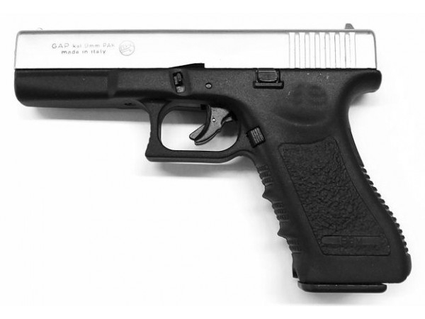 Pistolet à blanc BRUNI GAP Nickelé ''type GLOCK'' cal.9 mm