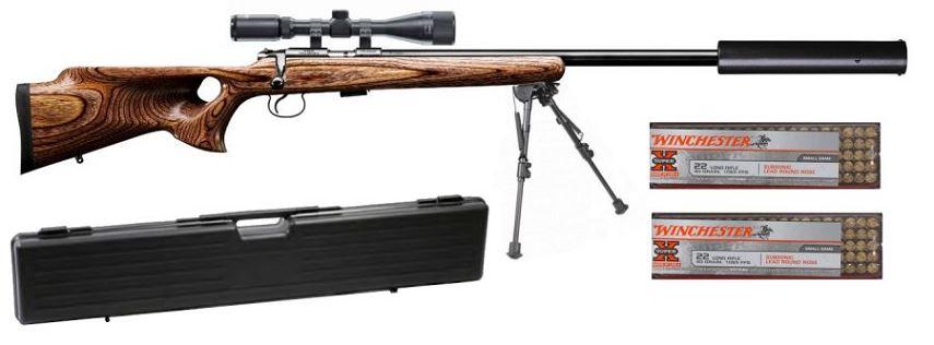 Carabine 22LR CZ 455 Varmint THUMBHOLE avec lunette LYNX Varmint 6-24x42 AO ''Kit SNIPER HARRIS''
