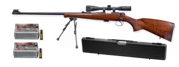 Carabine 22LR CZ 452 Luxe ''GAUCHER'' avec lunette LYNX Varmint 6-24x42 AO ''Kit SNIPER HARRIS''