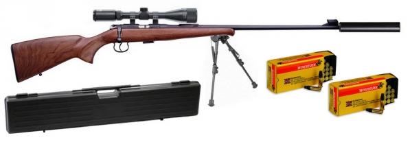 Carabine 22LR CZ 452 Luxe avec lunette LYNX Varmint 6-24x42 AO ''Kit SNIPER HARRIS''