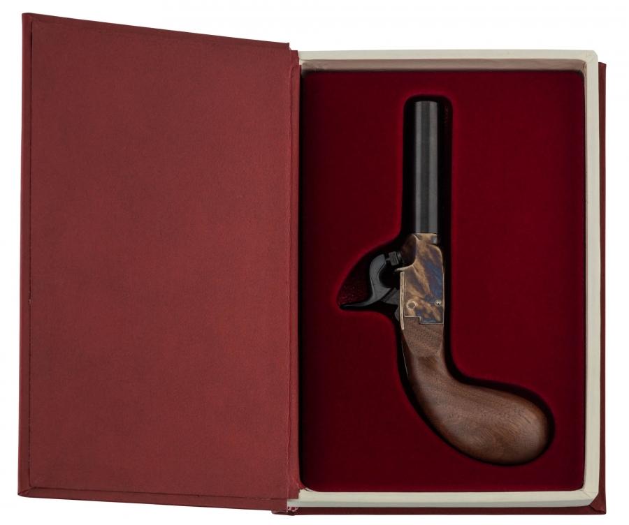 Pistolet Derringer à poudre noire PEDERSOLI Liegi en coffret livre Cal.44