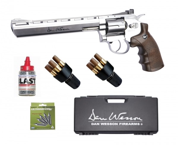 Revolver DAN WESSON Nickelé Wood 8'' ASG cal.4,5mm ''Pack mallette''