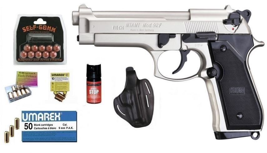 Kit EXTREME pistolet RECK BERETTA 92F Miami Nickel� cal.9mm PA UMAREX