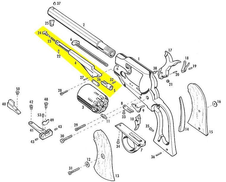 Levier de chargement complet PIETTA Remington cal.36 Bronzé