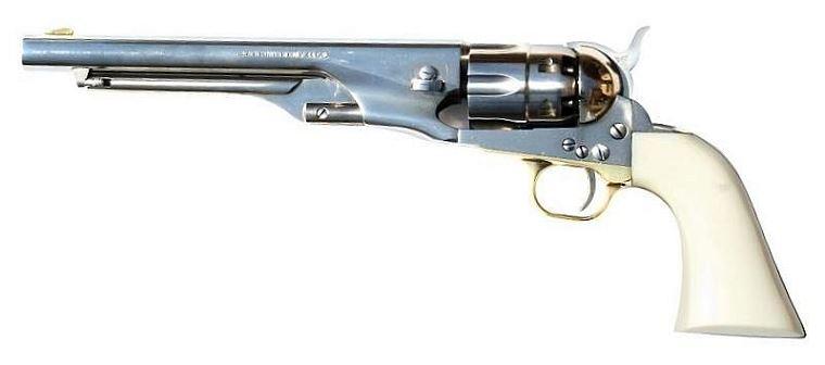 Revolver à Poudre Noire Pietta COLT Army 1860 cal.44 (crosse ivoirine, canon nickelé)