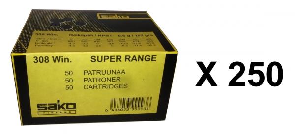 SAKO cal.308 Win Super Range FMJ 6.6 gr (lot de 250 cartouches)