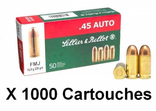 SELLIER BELLOT cal.45 ACP FMJ /1000 Cartouches
