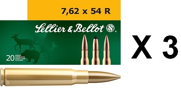 Sellier Bellot cal.7.62x54R FMJ (lot de 3 boites)