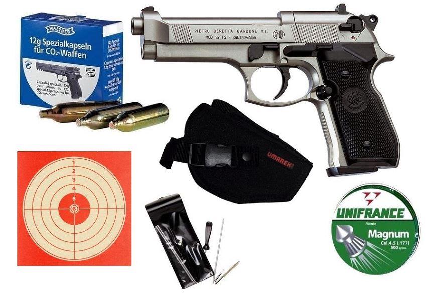 Pistolet BERETTA M92 FS 5'' Nickelé ''Pack LUXE'' UMAREX cal.4,5mm