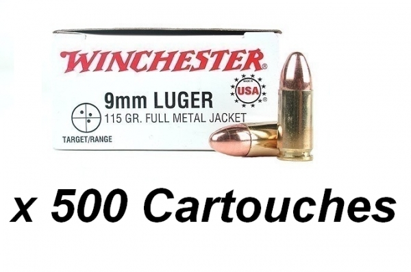 WINCHESTER cal.9 mm PARA FMJ /500 cartouches