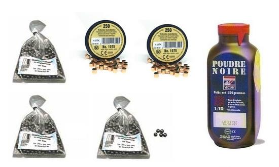 Kit cal.44 Poudre noire PNF2 - 300 balles HN 445 - 500 amorces cannel�es