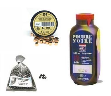Kit cal.44 Poudre noire PNF2 - 100 balles HN 445 - 250 amorces cannelées