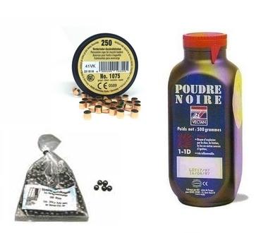 Kit cal.44 Poudre noire PNF2 - 100 balles HN 450 - 250 amorces cannelées