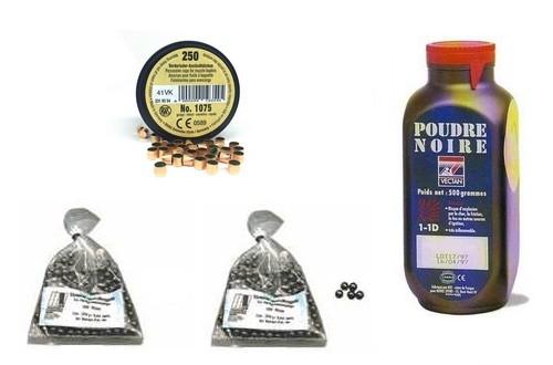 Kit cal.36 Poudre noire PNF2 - 400 balles HN 375 - 250 amorces cannelées