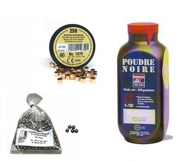 Kit cal.36 Poudre noire PNF2 - 200 balles HN 375 - 250 amorces cannelées