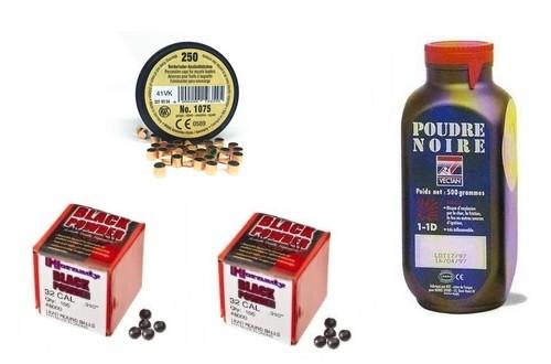 Kit cal.31 Poudre noire PNF2 - 200 balles Hornady 315 - 250 amorces cannelées