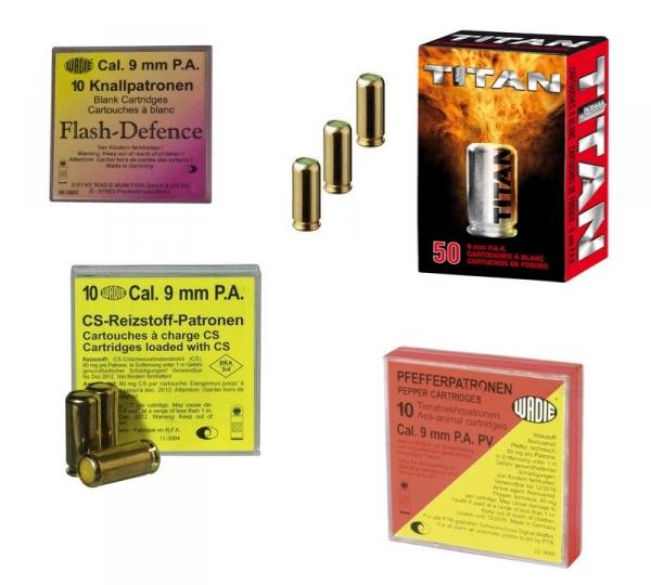 Cartouches 9mm PISTOLET à blanc (assortiments Blanc - GAZ - Poivre - Flash)