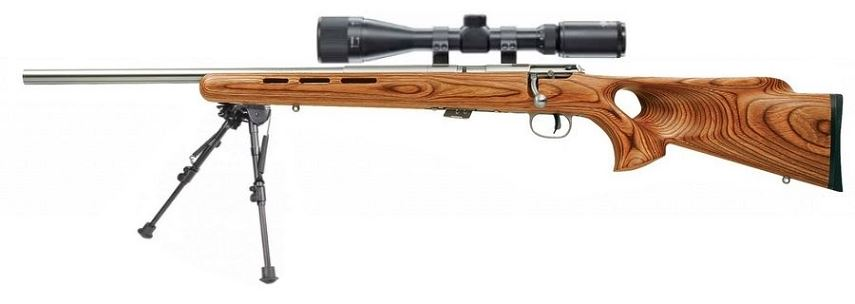 Carabine 22LR SAVAGE Varmint Lamellé Thumbhole Stainless MARK II BTVLSS ''GAUCHER'' avec lunette LYNX Varmint 6-24x42 AO ''Kit SNIPER HARRIS''