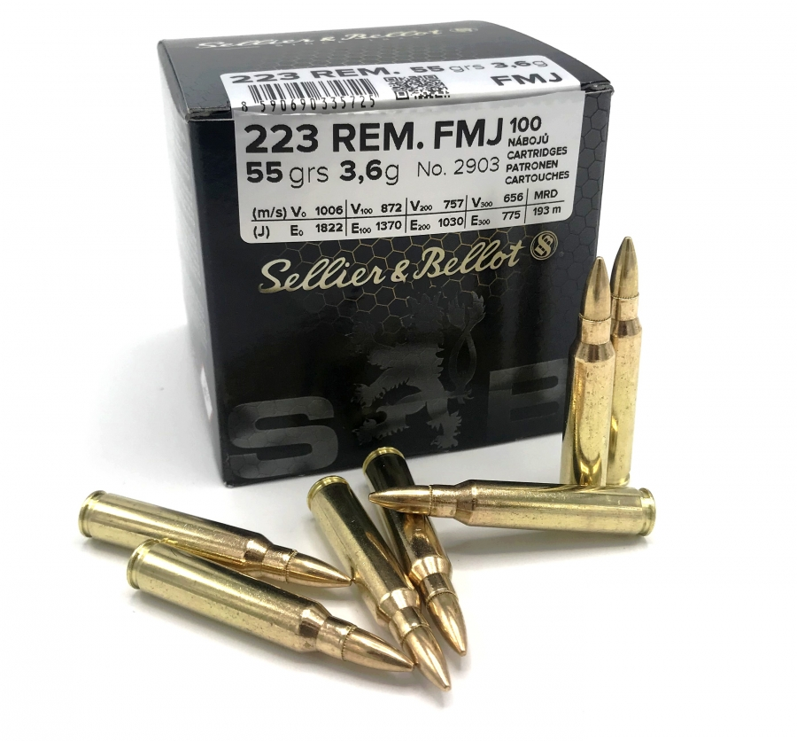 SELLIER & BELLOT cal.223 Rem FMJ 55gr /100 cartouches