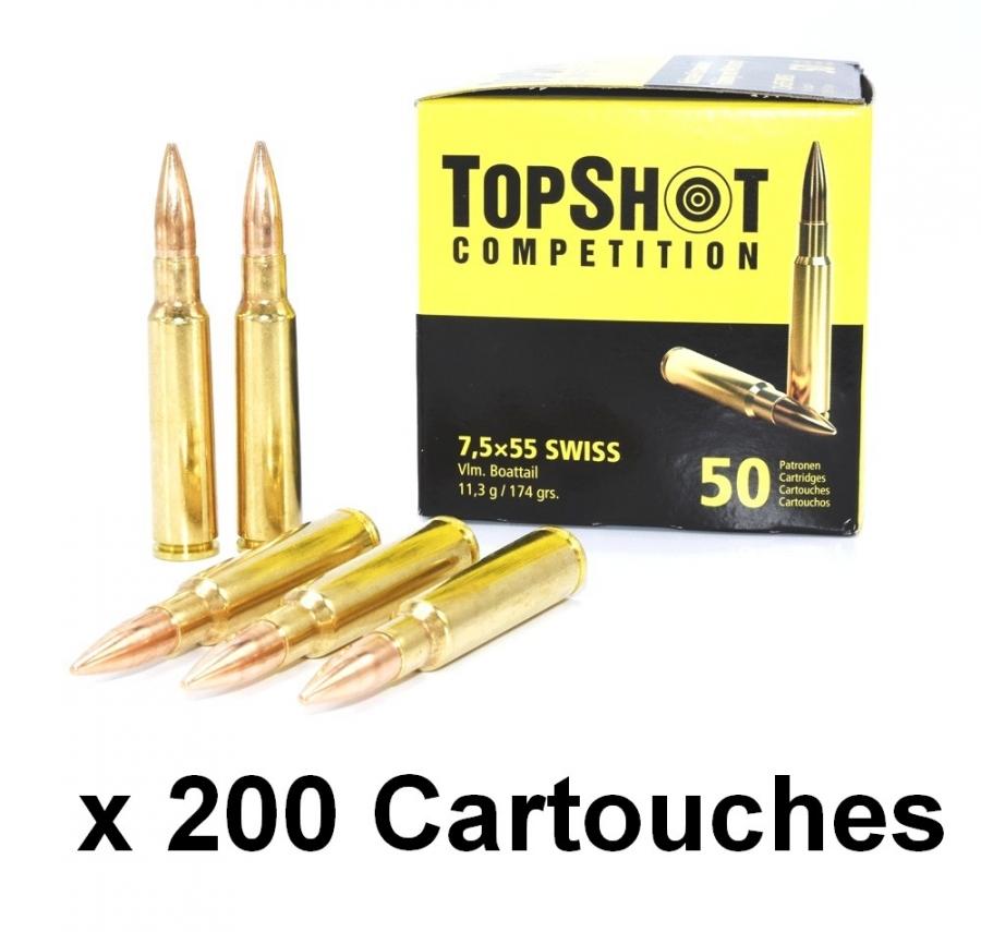 TOP SHOT Competition cal.7.5x55 Swiss FMJ (Lot de 200 cartouches)