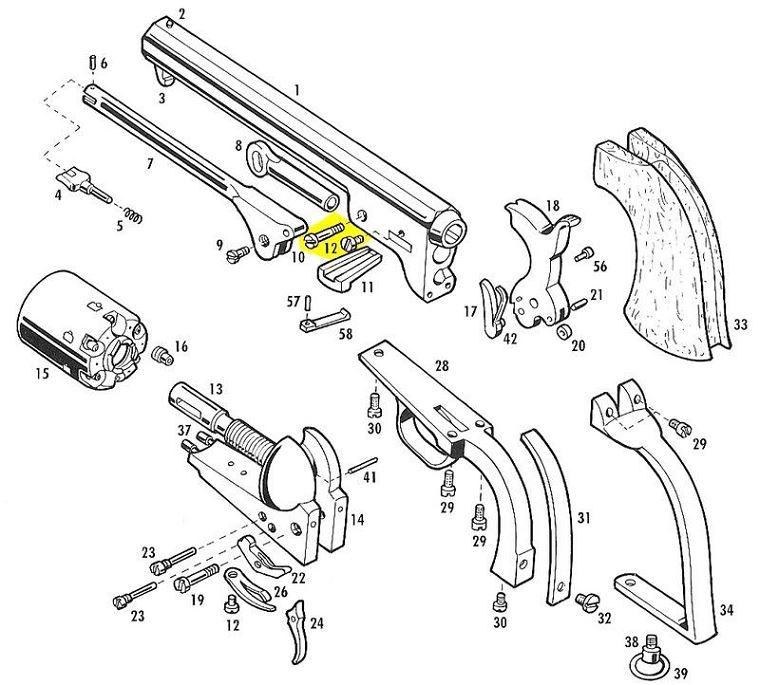 Vis axe de levier de chargement et vis de clavette PIETTA Colt