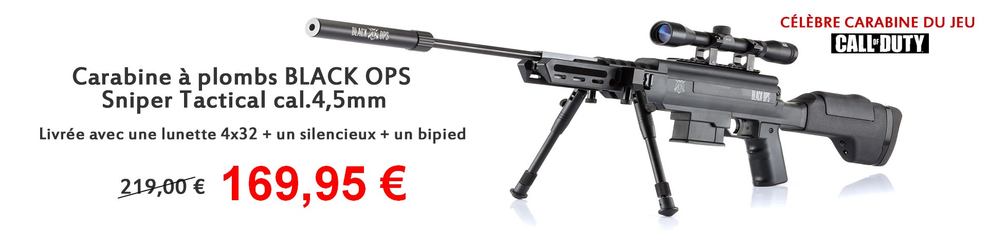 Carabine a plombs BLACK OPS Sniper Tactical cal.4,5mm