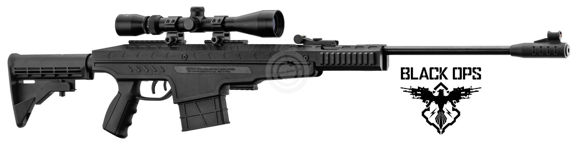 Carabine à plombs Tactical BLACK OPS PENDLETON BLACK ''Combo lunette 3-9x40'' (19,9 joules) cal.4,5mm
