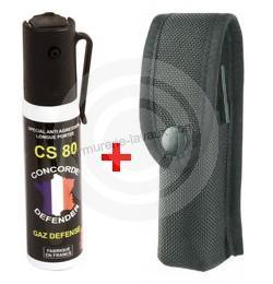 Bombe lacrymogène Gaz CS 80 - 25 ml avec étui cordura